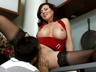 amazing busty brunette milf getting her cunt licked and fucked