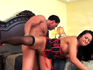 turned on cock hungry back haired milfs with juicy asses and big hooters in whorish lingerie give giant blowjob to muscled pornstar in ass fucking hardcore threesome in bedroom.
