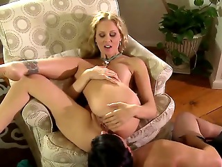 attractive experienced turned on cock hungry blonde milf julia ann with huge stunning knockers and juicy black hole gets her holes licked good and drilled hard by muscled horny stud