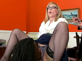 nathan threat gives nina hartley a glimpse of his mighty cock and then licks her pussy, hoping that later she will bend down and let him in. sexy milf knows no shame.